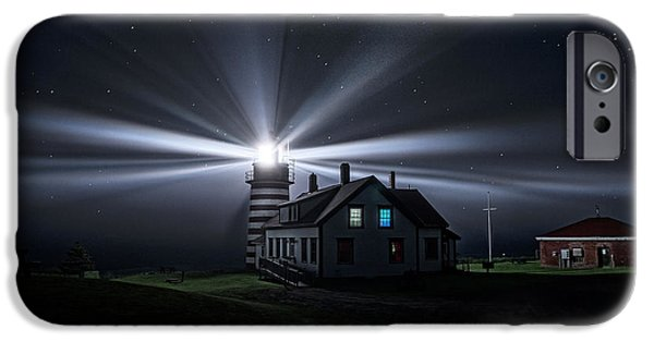 Maine iPhone Cases - Stars and Light Beams - West Quoddy Head Lighthouse iPhone Case by Marty Saccone