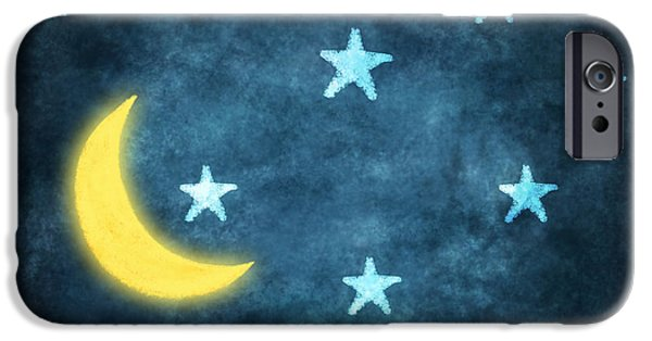 Stars iPhone Cases - Stars And Moon Drawing With Chalk iPhone Case by Setsiri Silapasuwanchai