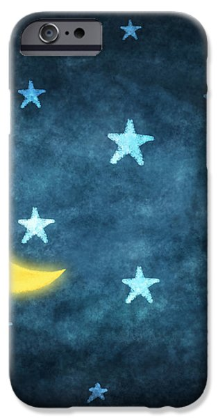 stars and moon drawing with chalk iPhone Case by Setsiri Silapasuwanchai