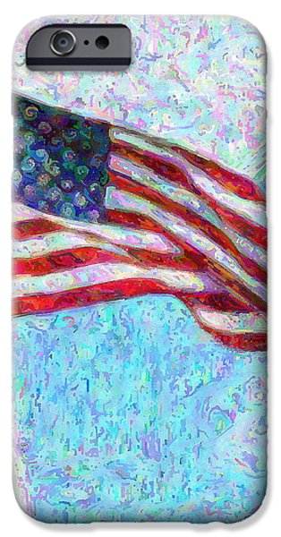 Red White And Blue Mixed Media iPhone Cases - Stars and Stripes iPhone Case by Colleen Kammerer