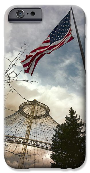 Old Glory iPhone Cases - STARS and STRIPES FLYING over R F P PAVILION - SPOKANE iPhone Case by Daniel Hagerman