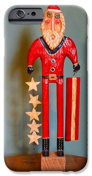 Patriots Sculptures iPhone Cases - Stars and Stripes Santa iPhone Case by James Neill