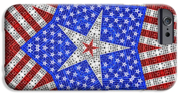 Old Glory iPhone Cases - Stars and Stripes - White Star iPhone Case by Carlos Vieira