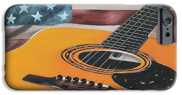 American Flag iPhone Cases - Stars Guitar iPhone Case by Danielle Allard