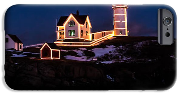 Cape Neddick Lighthouse iPhone Cases - Stars over Nubble Lighthouse in Maine iPhone Case by Jeff Folger