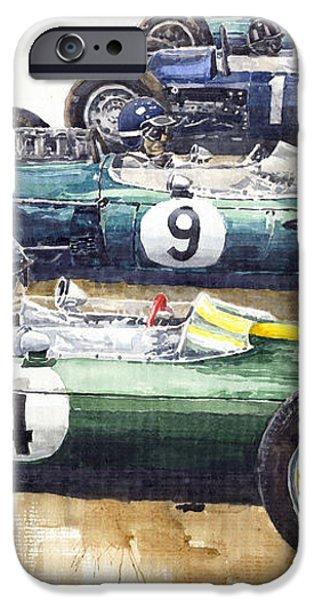 Start British GP 1963 - Lotus  Brabham  BRM  Brabham iPhone Case by Yuriy  Shevchuk
