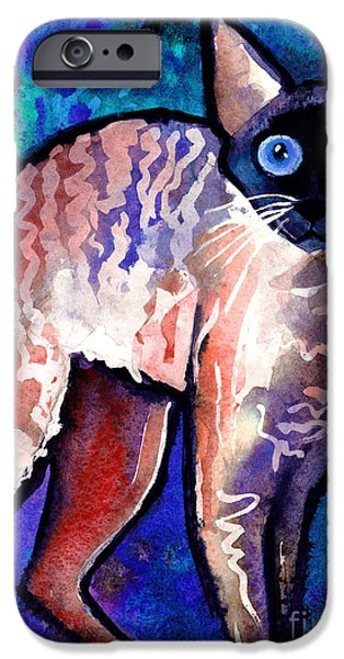 Cat Drawings iPhone Cases - Startled Cornish Rex Cat iPhone Case by Svetlana Novikova