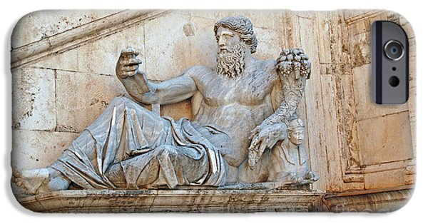 Old Sculptures iPhone Cases - Statue Capitoline Hill of Rome Italy iPhone Case by Eva Kaufman