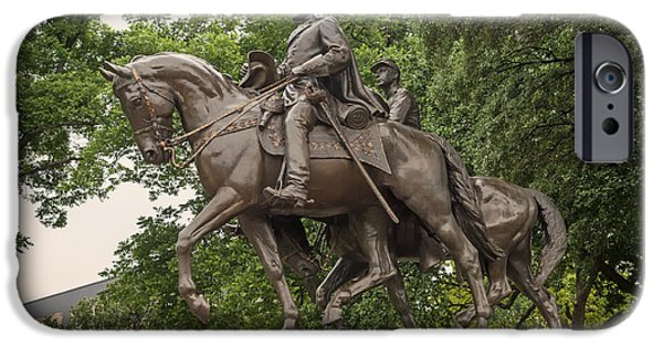 War Sculptures iPhone Cases - Statue of General Robert E Lee on His Horse Traveller  iPhone Case by Mountain Dreams
