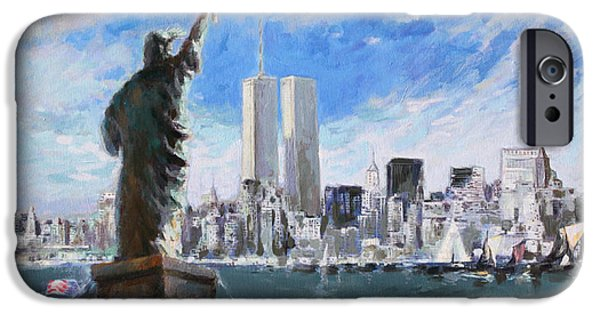 City Scape Paintings iPhone Cases - Statue of Liberty and Tween Towers iPhone Case by Ylli Haruni