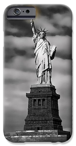 City Digital Art iPhone Cases - STATUE of LIBERTY at DUSK iPhone Case by Daniel Hagerman