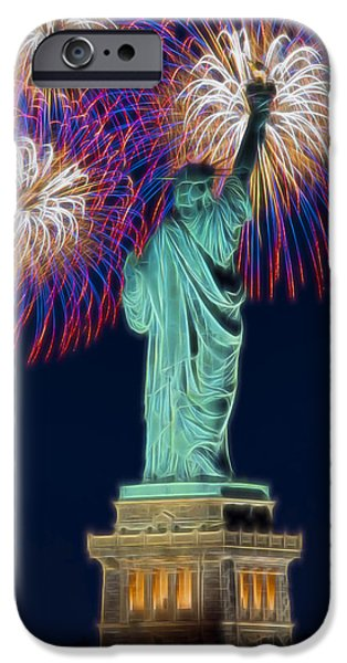 Fourth Of July iPhone Cases - Statue Of Liberty Fireworks iPhone Case by Susan Candelario