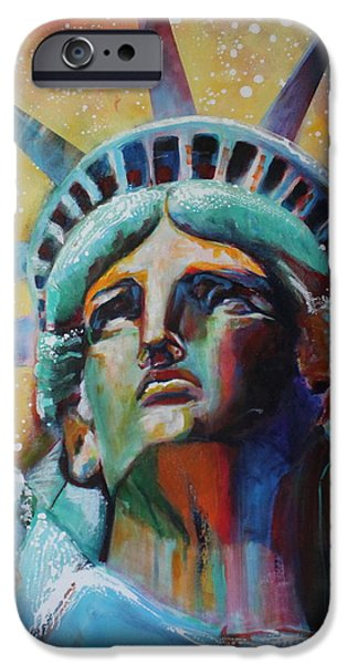 Statue Portrait iPhone Cases - Statue of Liberty iPhone Case by Katarzyna Scaber