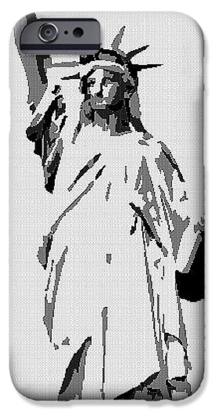 Tetris Block iPhone Cases - Statue Of Liberty Mixed Media iPhone Case by Jacquin