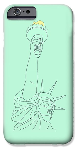 Recently Sold -  - 4th July Drawings iPhone Cases - Statue of Liberty iPhone Case by Priscilla Wolfe
