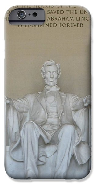 Lincoln iPhone Cases - Statue of Lincoln iPhone Case by Diane Leone