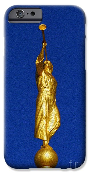 Night Angel iPhone Cases - Statue of Moroni iPhone Case by Gloria Pasko