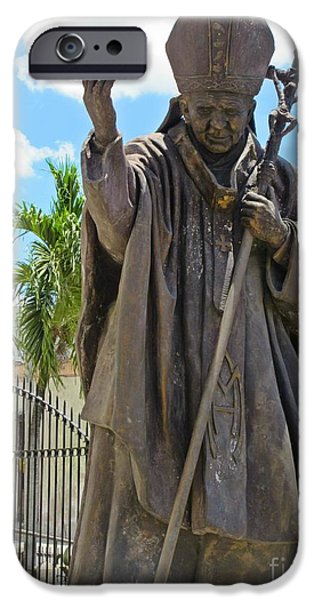 Love Sculptures iPhone Cases - Statue of the Pope in Cuba iPhone Case by John Malone