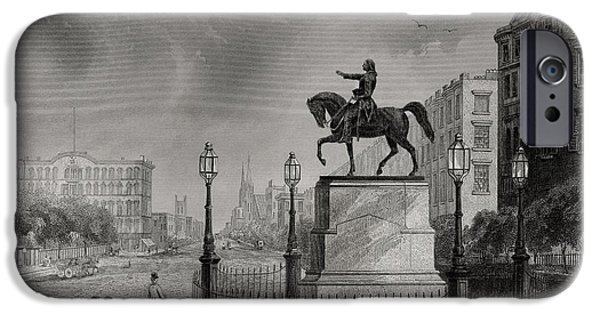 First Black President Drawings iPhone Cases - Statue Of Washington Union Square New iPhone Case by Ken Welsh