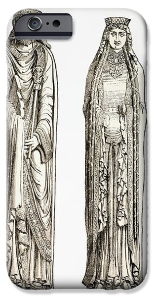 Statue Portrait iPhone Cases - Statues Of King Clovis I And His Wife iPhone Case by Ken Welsh
