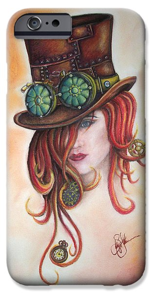 Gear Pastels iPhone Cases - Steam Punk Red iPhone Case by Sally Johnsons