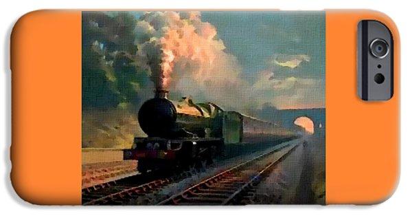 Abstract Digital Paintings iPhone Cases - Steam Train Memories Catus 1 no. 3 H B iPhone Case by Gert J Rheeders
