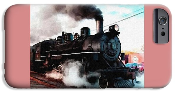 Abstract Digital Pastels iPhone Cases - Steam Train Memories Catus 1 no. 4 H B iPhone Case by Gert J Rheeders