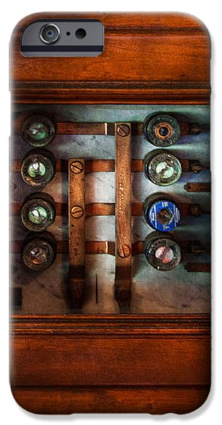 Steampunk - Electrical - The fuse panel iPhone Case by Mike Savad