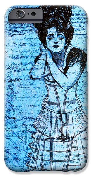 Monochrome Mixed Media iPhone Cases - Steampunk Girls in Blues iPhone Case by Nikki Marie Smith