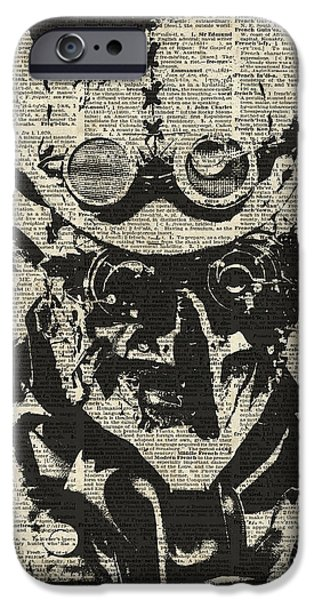 Machinery iPhone Cases - Steampunk guy iPhone Case by Jacob Kuch