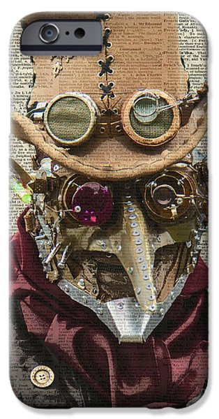 Machinery iPhone Cases - Steampunk robot iPhone Case by Jacob Kuch