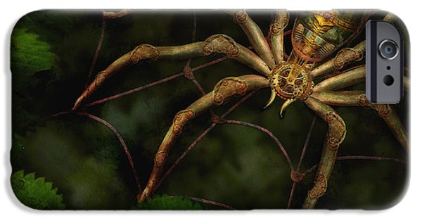 Technology iPhone Cases - Steampunk - Spider - Arachnia Automata iPhone Case by Mike Savad