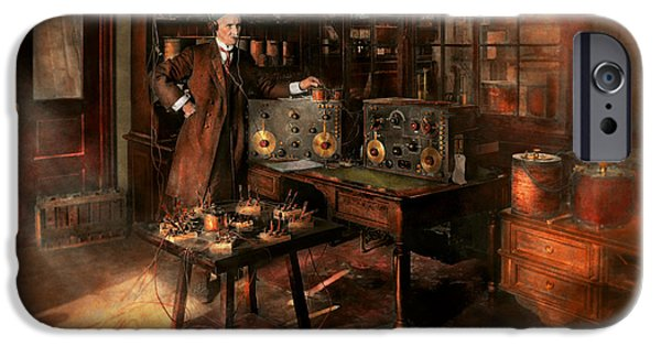 Laboratory Equipment iPhone Cases - Steampunk - The time traveler 1920 iPhone Case by Mike Savad