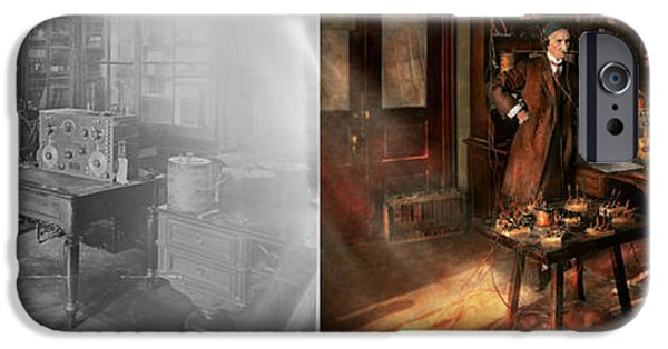 Laboratory Equipment iPhone Cases - Steampunk - The time traveler 1920 - Side by Side iPhone Case by Mike Savad