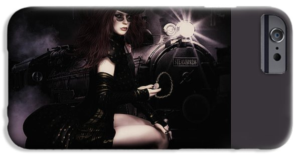 Hairstyle Digital iPhone Cases - SteampunkXpress iPhone Case by Shanina Conway