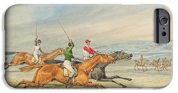 Horse Race iPhone Cases - Steeplechasing iPhone Case by Henry Thomas Alken