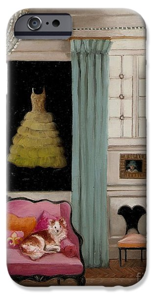 Dressing Room Paintings iPhone Cases - Stella In Paris 6e iPhone Case by Cara alex White