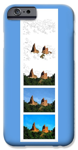 Mounds iPhone Cases - Steps of a Digital Painting iPhone Case by Bruce Nutting