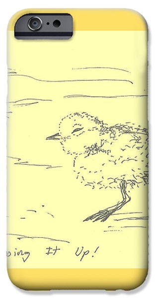 Animal Drawings iPhone Cases - Stepping It Up iPhone Case by Denise Fulmer