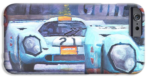 1970 iPhone Cases - Steve McQueen Le Mans Porsche 917 01 iPhone Case by Yuriy Shevchuk