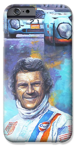 Steve Mcqueen iPhone Cases - Steve McQueen Le Mans Porsche 917 iPhone Case by Yuriy Shevchuk