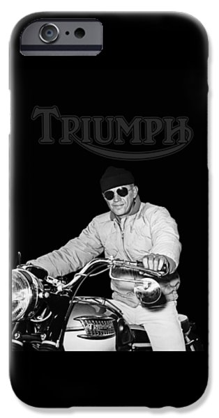 Steve Mcqueen iPhone Cases - Steve McQueen Triumph iPhone Case by Mark Rogan