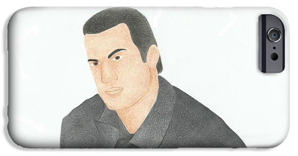 Police Art Drawings iPhone Cases - Steven Seagal iPhone Case by Toni Jaso