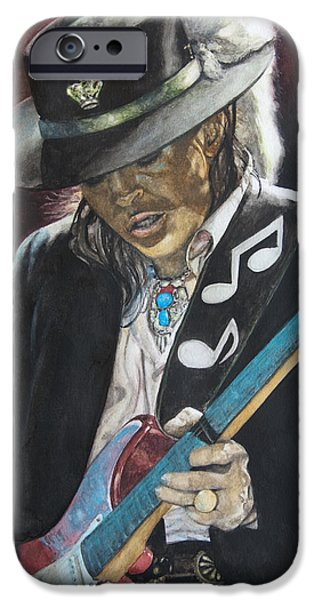 Rays Paintings iPhone Cases - Stevie Ray Vaughan  iPhone Case by Lance Gebhardt