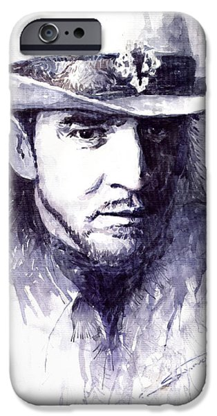 Rays Paintings iPhone Cases - Stevie Ray Vaughan iPhone Case by Yuriy  Shevchuk