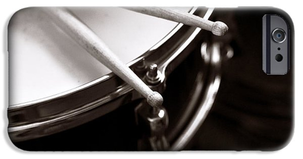 Drum Sets iPhone Cases - Sticks on Snare Drum iPhone Case by Rebecca Brittain