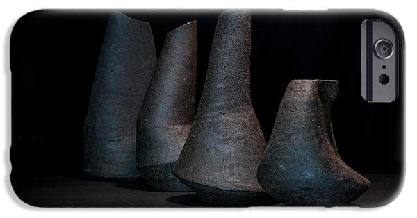 Still Life Ceramics iPhone Cases - Still Life - Ceramic Vessels iPhone Case by William Sulit