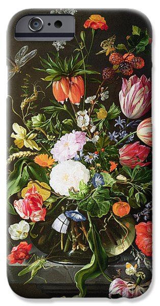 Vase iPhone Cases - Still Life of Flowers iPhone Case by Jan Davidsz de Heem
