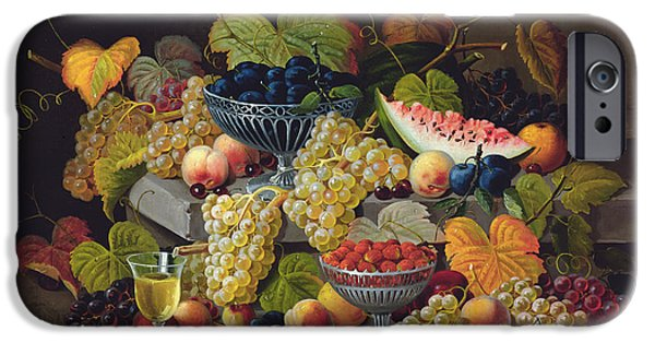 Ledge iPhone Cases - Still Life of Melon Plums Grapes Cherries Strawberries on Stone Ledge iPhone Case by Severin Roesen