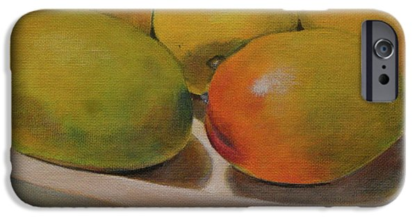Mango Paintings iPhone Cases - Still life of ripe mangos in a wooden bowl iPhone Case by Walt Maes